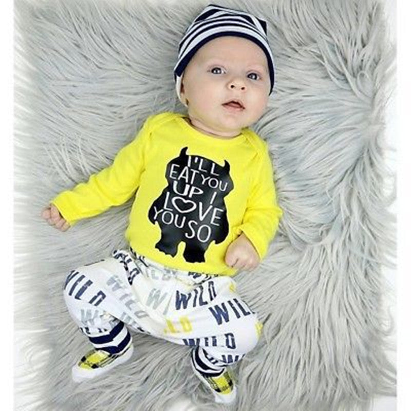 3-Piece Baby Clothes Cartoon Monster Bodysuit+Pants+Hat Outfits