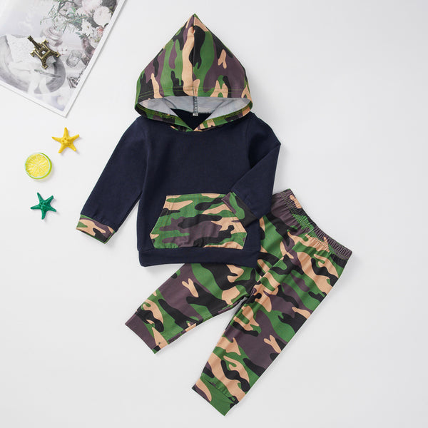 Autumn Baby Boys 2-Piece Camoflage Hoodie Sets pull-on Pants