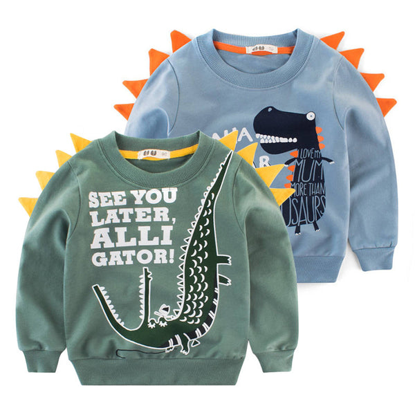 Little Dinosaur Design Jumper Pullover Long Sleeve Crew Neck Top Kids Unisex Casual Indoor Clothes