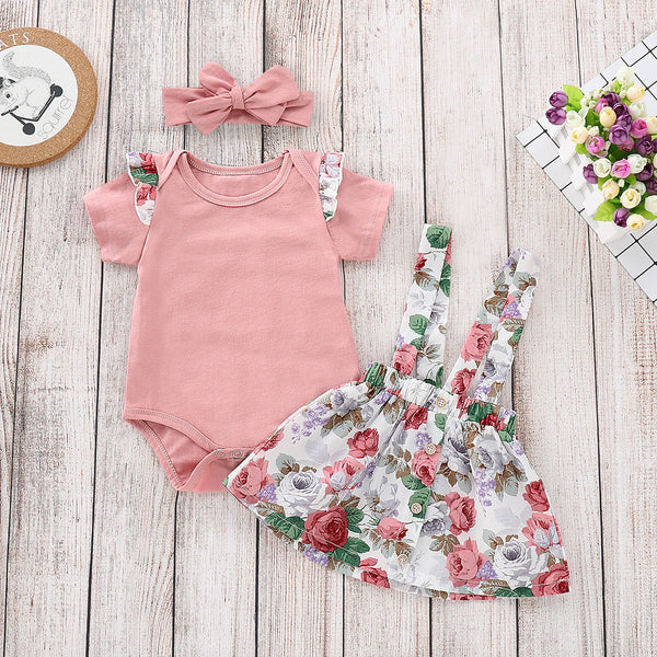 Baby Girl Summer 3-piece Outfits Flutter Sleeve Bodysuit+ Jumper Skirt +Pink Headband