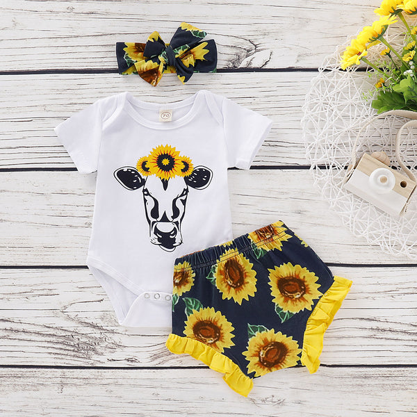 2-Piece Outfits Baby Cow Bodysuit Matching Frilled Sunflower Shorts