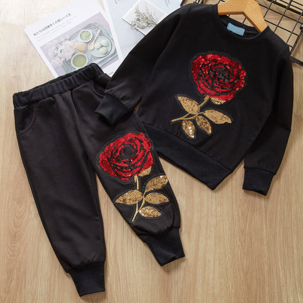 Stylish Girl 2-Piece Rose Sequins Pullover + Pants