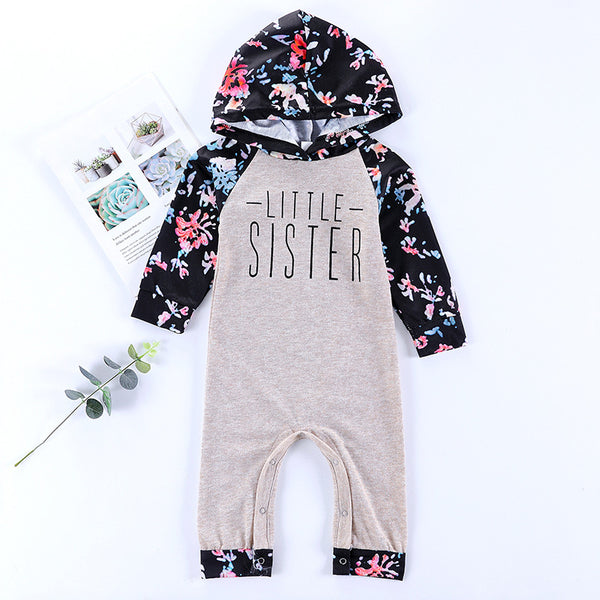 Fall Little Sister Floral Hooded Overall
