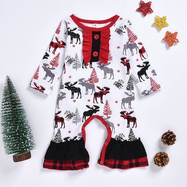 Christmas Theme Baby Ruffled Jumpsuit