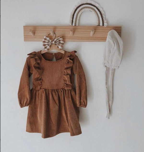 Spring Baby Toddler Girl Solid Color Flutter Corduroy Dress