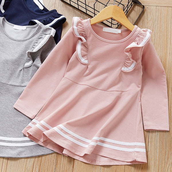 Fall School Girl Ruffled Sleeve Dress