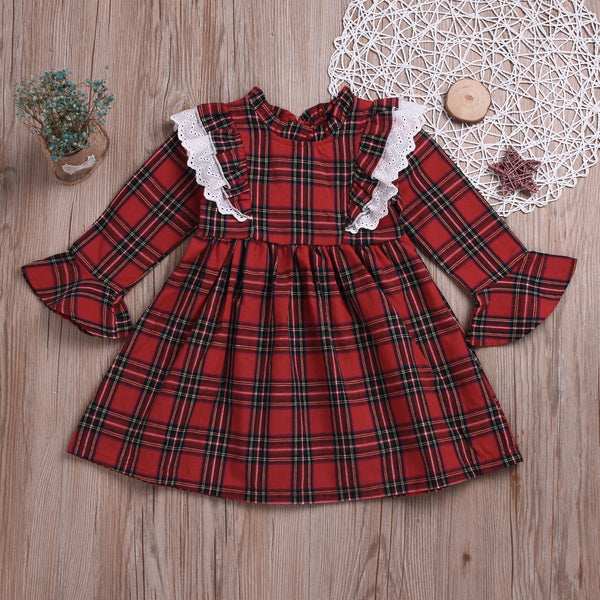 British Style Ruffled Sleeve Plaid Long-sleeved Dress