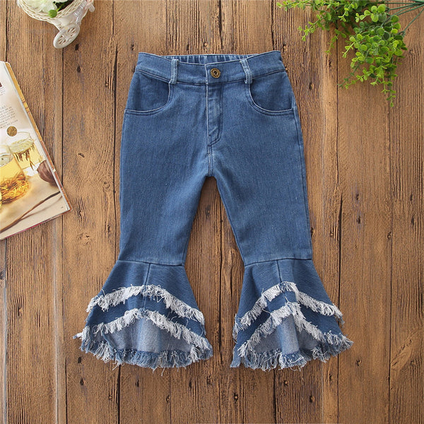 Fashion Toddler Girl Fringed-hem Jeans Bell-bottoms