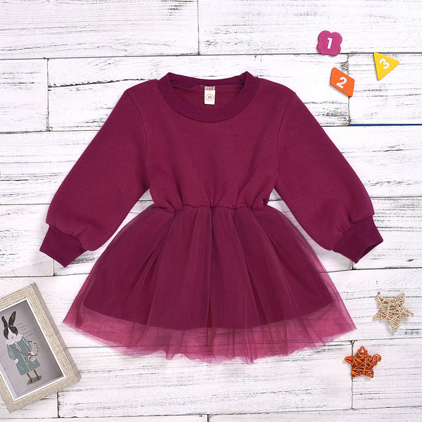 Fall Baby Little Girl Mesh Patchwork Crimson Dress