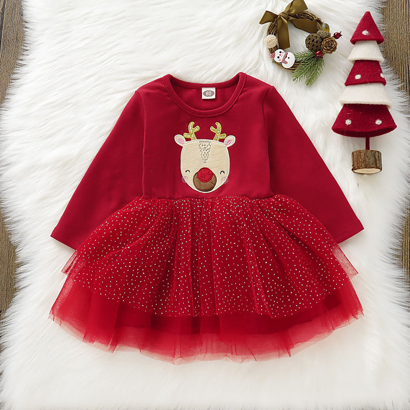 Cute Reindeer Tulle Double Layer Patchwork Christmas Red Dress