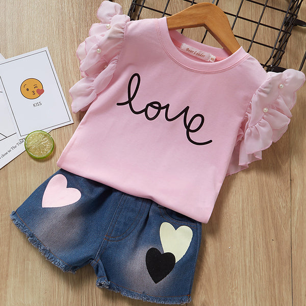 2-Piece Outfit Flutter Sleeve Beaded T-shirt+Love Heart Fringe Hem Short Jeans Little Girl Summer Clothes