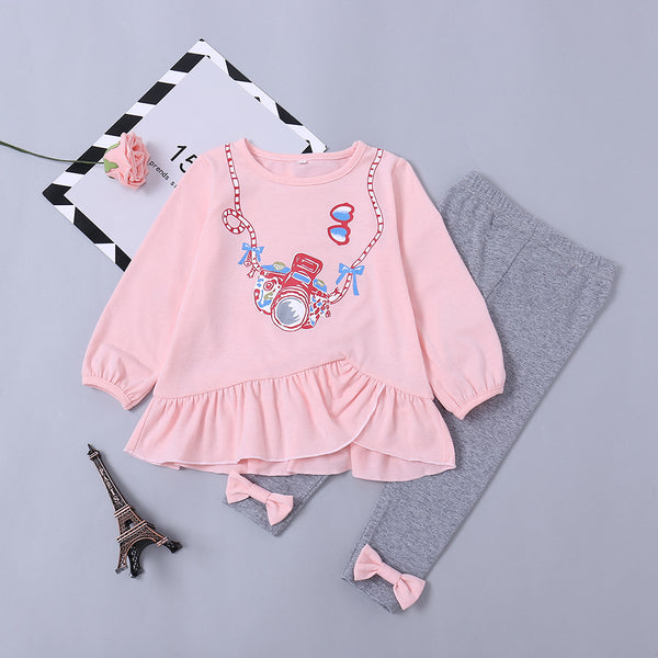 Baby Clothes Outfit Set Pink Camera Print Ruffled Dress and Bow Grey Leggings Pants