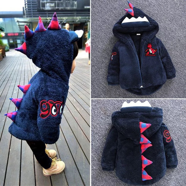 Fashion Toddler Boys Dinosaur Style Fleece-lined Hooded Coat