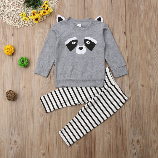 2-Piece Panda Style Outfits Baby Boy Jumper & Stripe Pants