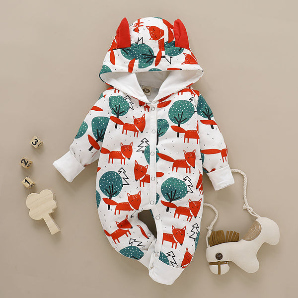 Cute Baby Fox & Tree/Heart Cartoon Hooded With Ears Autumn Jumpsuit One Piece Bodysuit