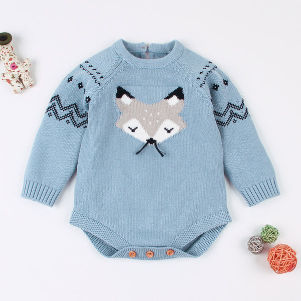 Cute Cartoon Fox Crochet Knitted Cotton Bodysuit