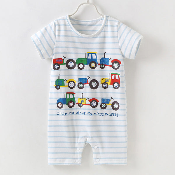 Cute Baby Boys Onesie Cartoon Tractor Short-sleeved Bodysuit
