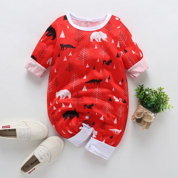 Cute Baby Animal Print Long-sleeved Jumpsuit