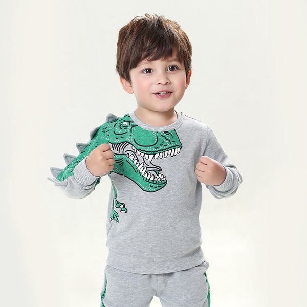 Cartoon Sweatshirt Long Sleeve Dinosaur Top Kids Clothes