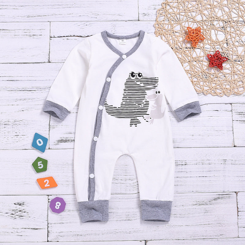 Buttoned Dinosaur Baby Sleepsuit Cartoon Overalls for Spring