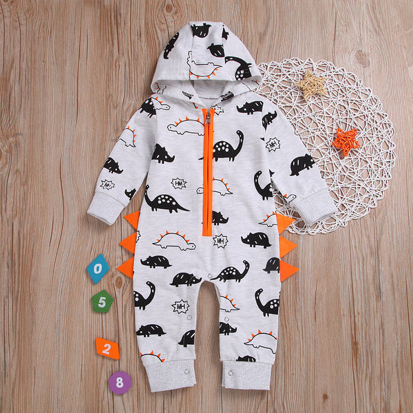 Adorable Dinosaur Jumpsuit Hooded Zip Overalls for Infant Boys