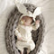 Adorable Bunny Ear Striped Romper Bodysuit Long Sleeve Infant Baby Boy Girl Playsuit