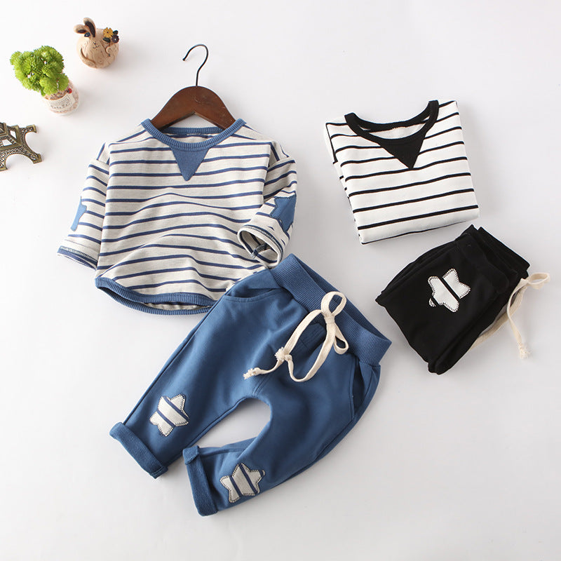 2-piece Baby Toddler Girl Boy Striped T-shirt+Star Sports Pants Set