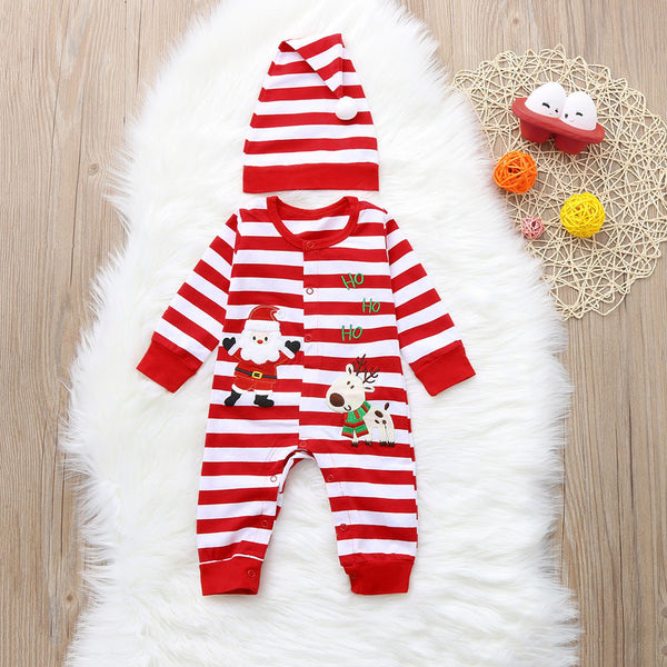 2-Piece Cute Baby Santa Deer Overall Matching Hat
