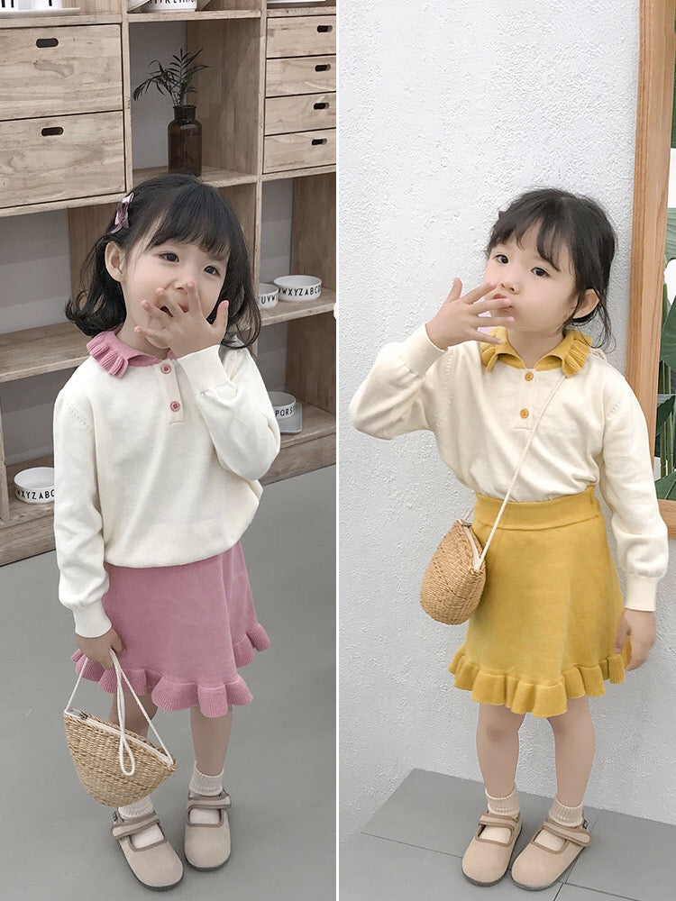 Fall 2-Piece Solid Color Knitted Sweater Matching Flutter Skirt Set