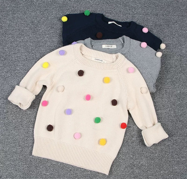 Cute Colorful Jumper Ball Trimmed Knitted Cotton Sweater Children Winter Clothes