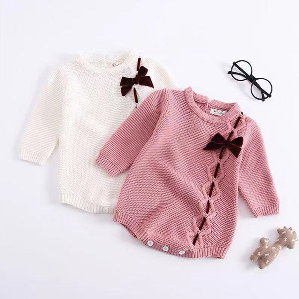 Long Sleeves Baby Girls Romper Knitted Bowknot Onesies