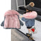 2 Colors Fashion Baby Toddler  Winter Fur Denim Jacket Pink and Gray