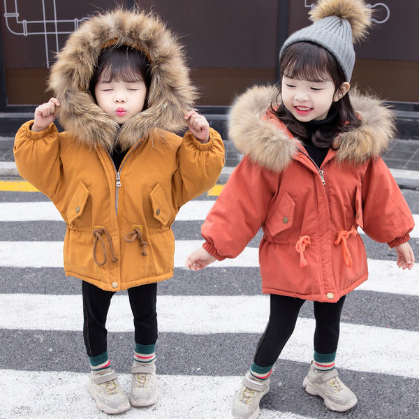 Cool Toddler Girls Faux Fur Trim Elastic Waist Parka Coat