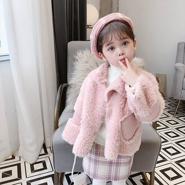Winter Stylish Toddler Girl Fleece Warm Coat