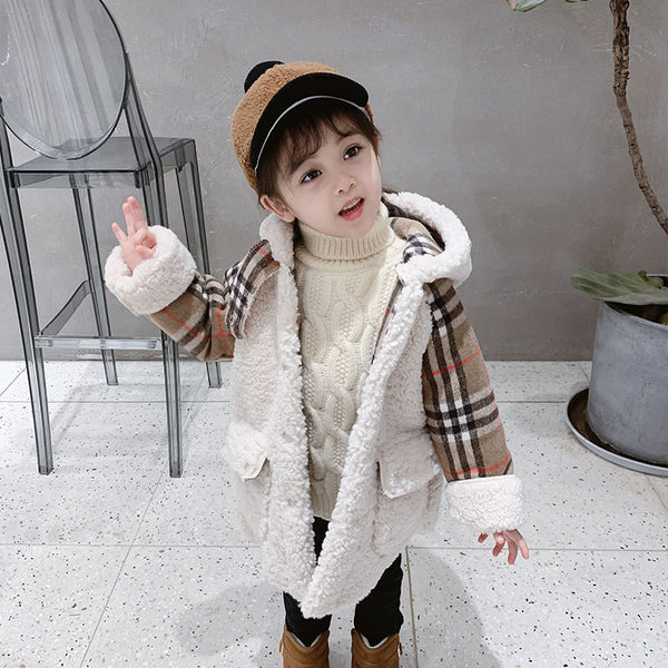Trendy Little Girl Berber Fleece Checked Hooded Jacket