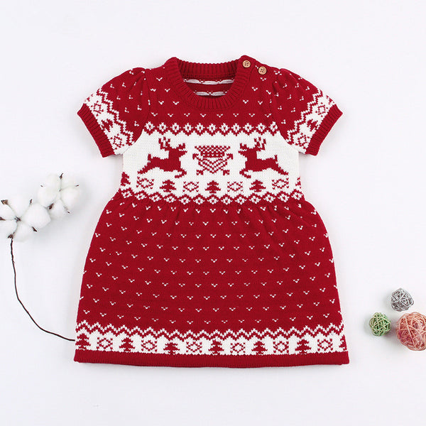 Baby Toddler Girl Christmas Reindeer Crochet Dress