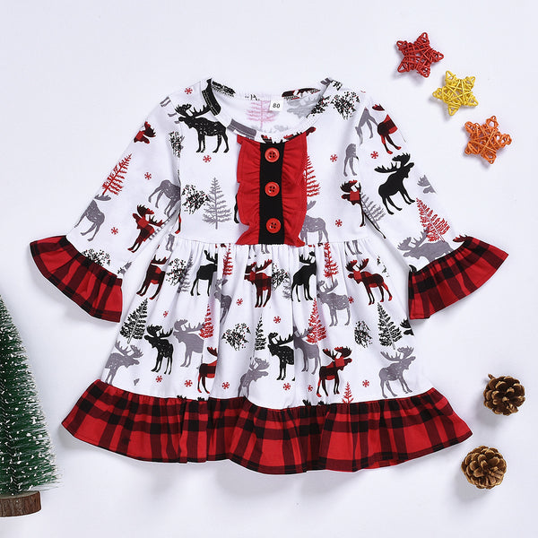 Toddler Girl Christmas Reindeer Dress