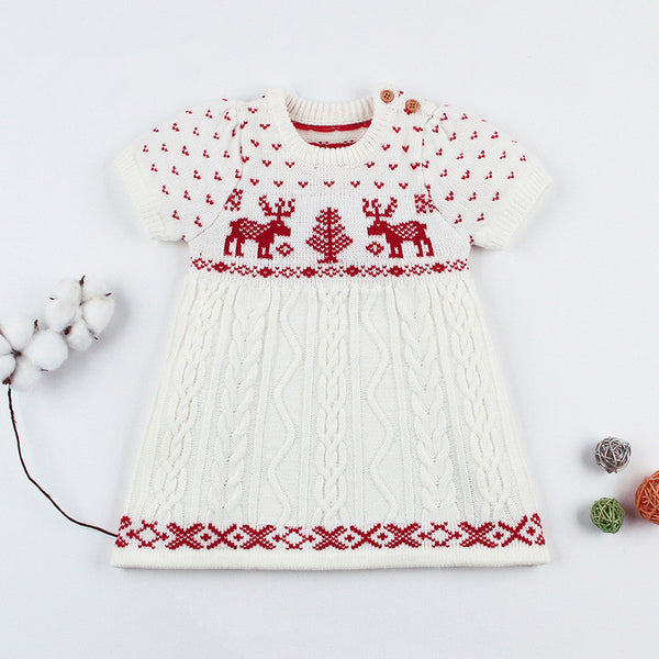 Christmas Tree Deer Crochet Knit Dress