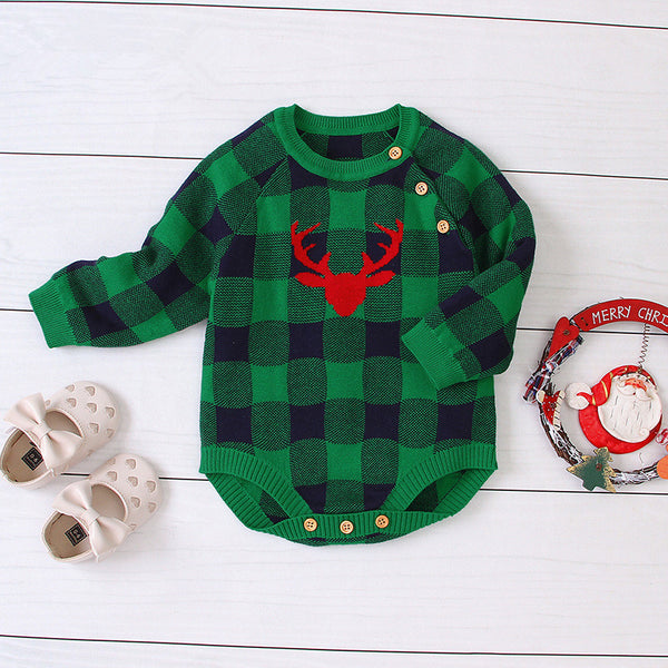 Christmas Deer Color Blocking Baby Knit crochet plaid Onesie