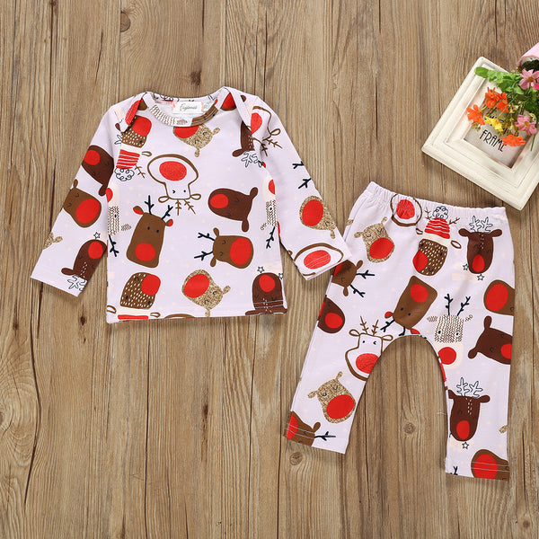 2-Piece Xmas Reindeer Cute Baby Clothes Set Tee & Trousers