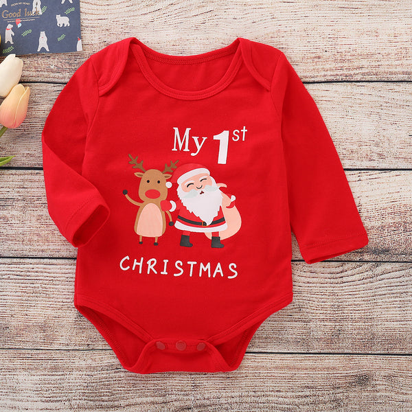 Xmas My 1ST CHRISTMAS Printed Infant Rompers Homewear