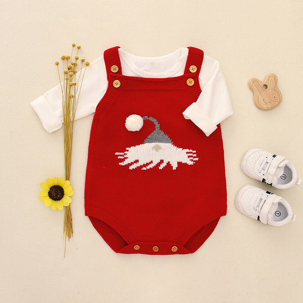Christmas Crochet Suspender Baby Romper Kids Knitted Apparel