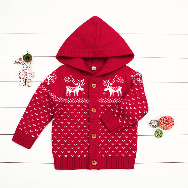 Christmas Tree Elk Crochet Hooded Cardigan Xmas Knitted Coat
