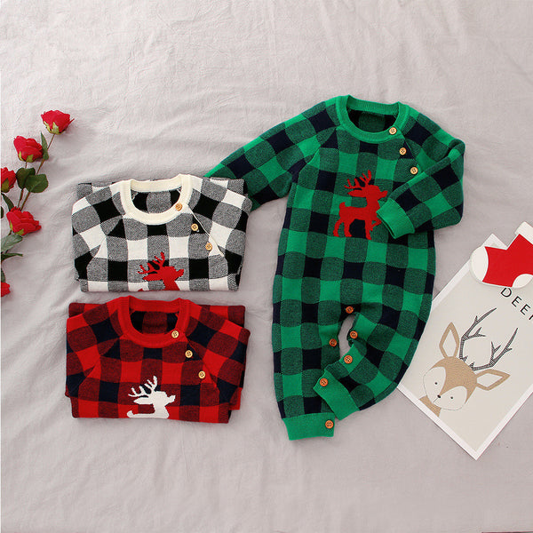 Adorable Baby Christmas Deer Crochet Jumpsuit