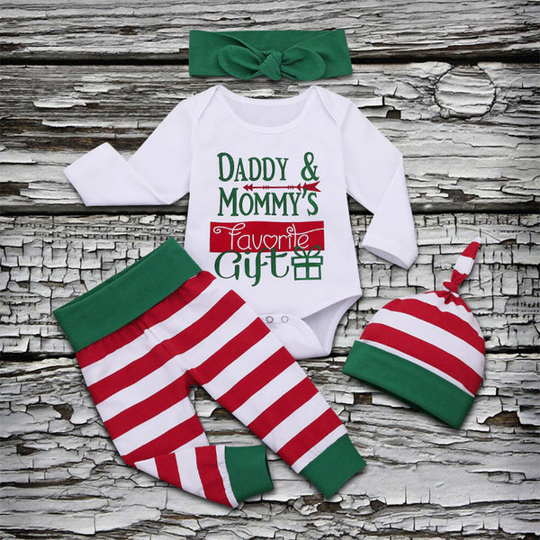 Christmas Baby 4-Piece Set Daddy Mommy's Favorite Gift Romper+Pants+Hat+Headband