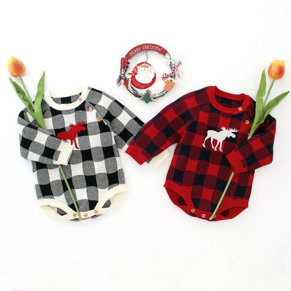 Christmas Baby Unisex Deer Checked Crochet Bodysuit