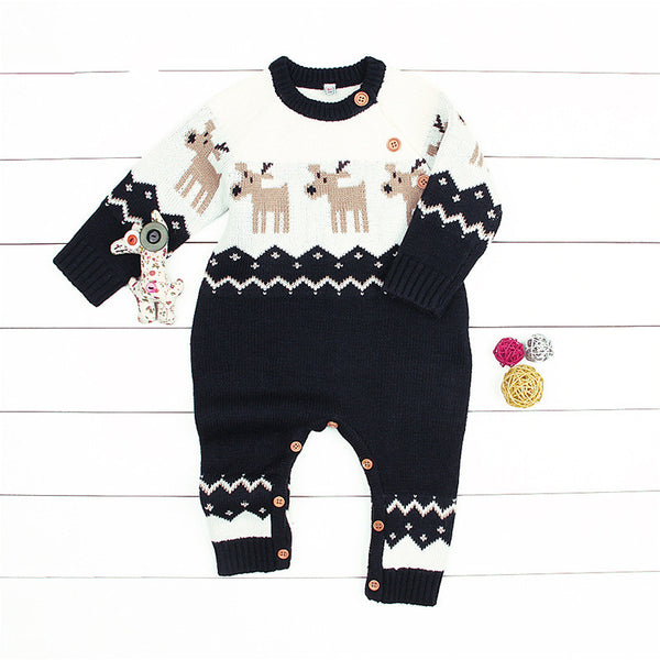 Christmas Elk Knitted Romper Xmas Bodysuit Cute