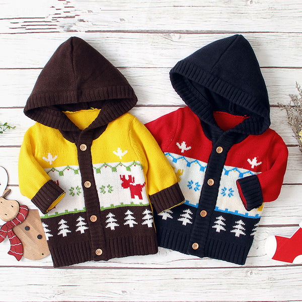 Baby Boy Christmas Tree Reindeer Crochet Hooded Cardigan