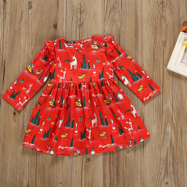Christmas Theme Baby Toddler Girl Long-sleeved Dress