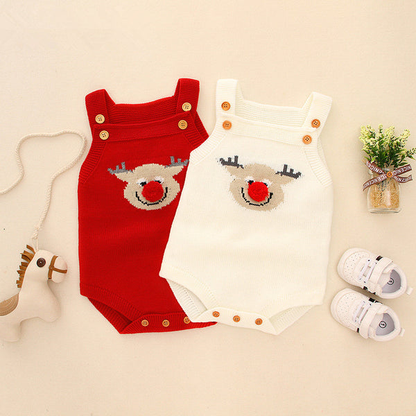 Adorable Christmas Onesie Elk Knitted Suspender Romper Baby Bodysuit